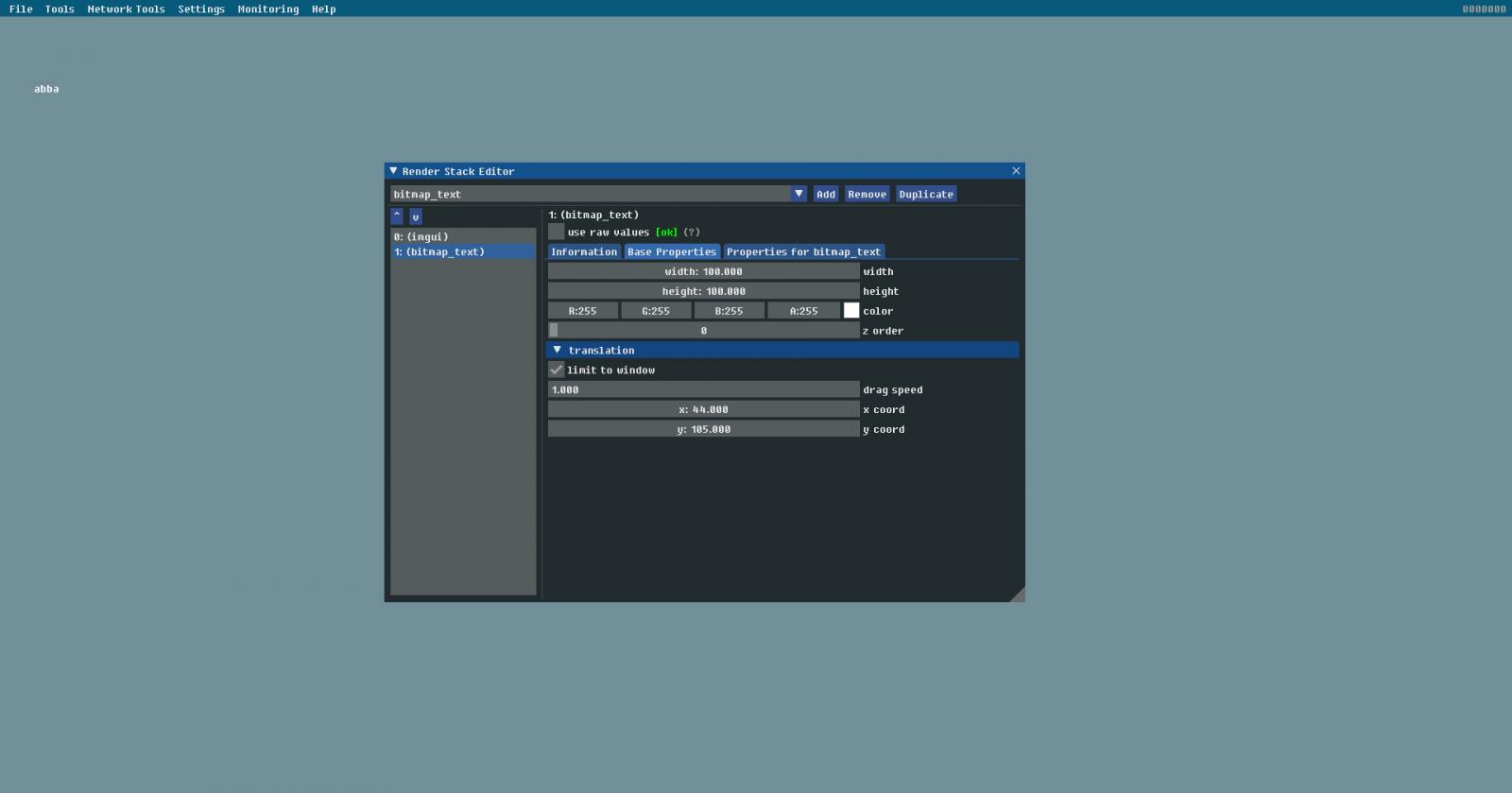 Render Stack Editor and Bitmap Font Rendering