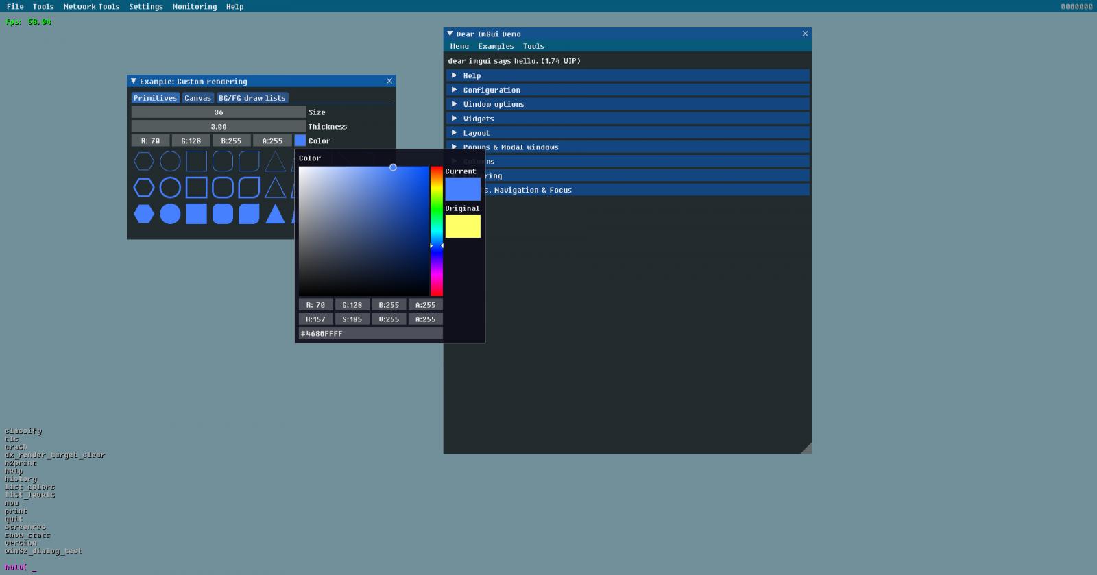 Default ImGUI Windows and Color Picker